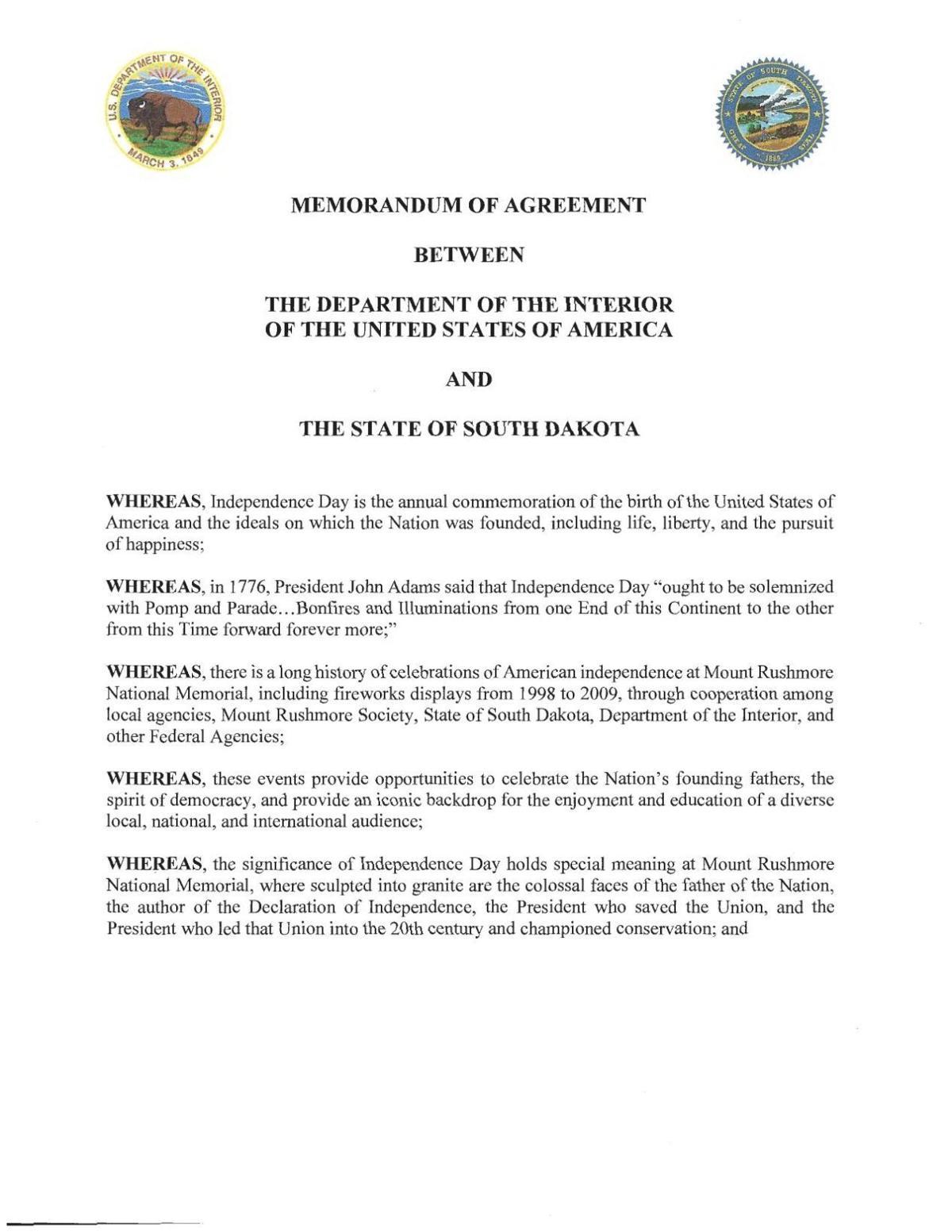 2019 DOI-SD agreement