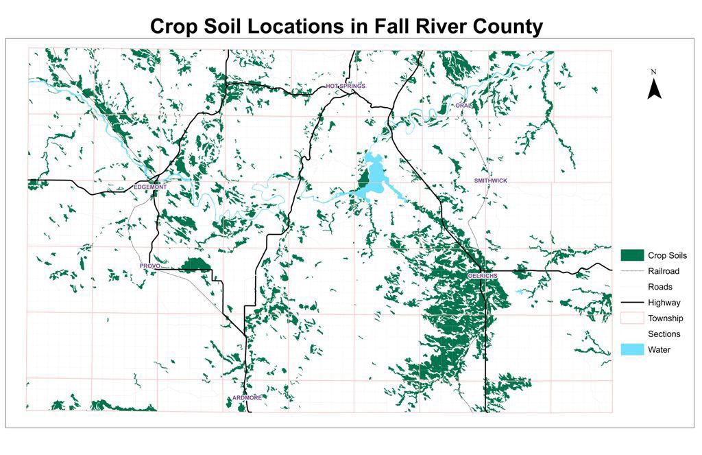 Crop soil locations in Fall River County