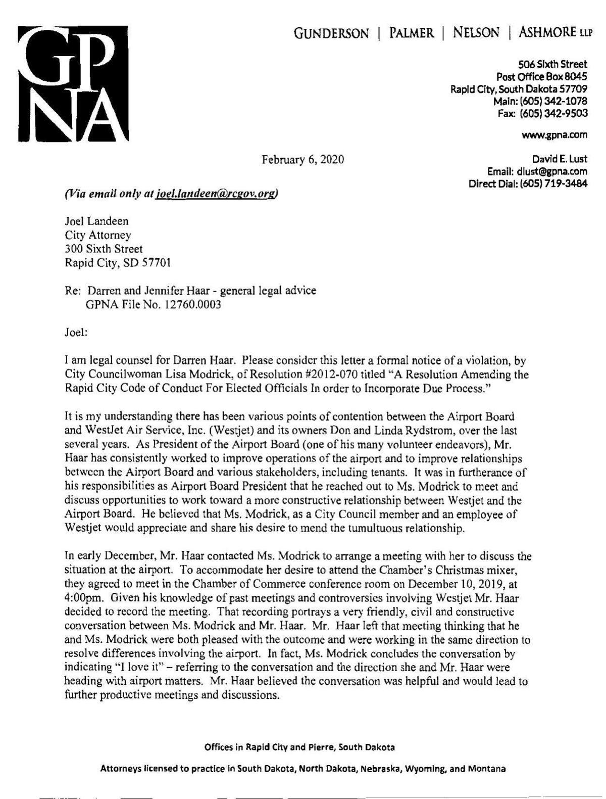 Haar complaint to City Attorney Joel Landeen
