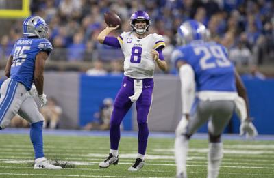 Vikings quarterback Kirk Cousins prepares to pass during the NFL game against the Detroit Lions on Sunday, Oct. 20, 2019 in Detroit, Mich.