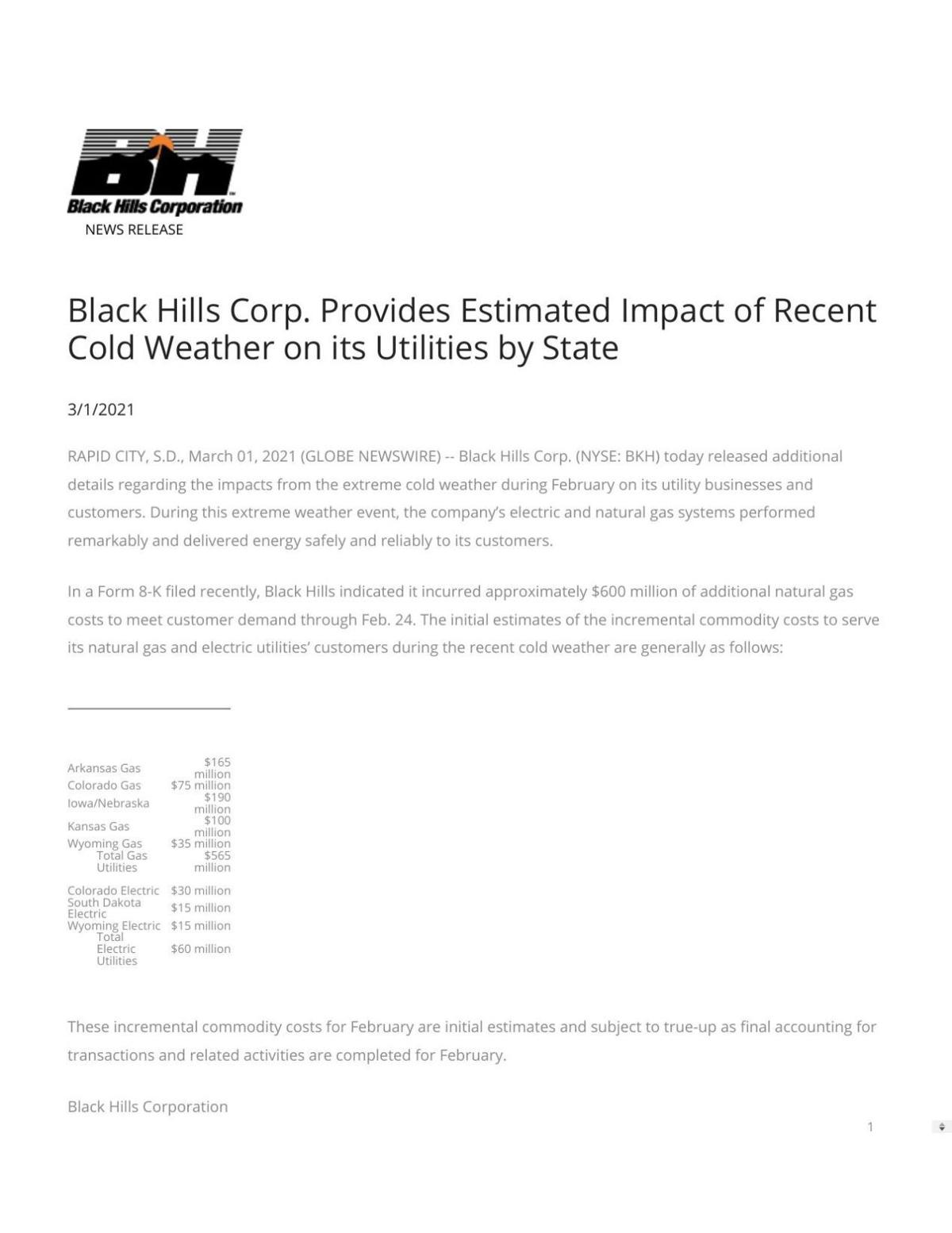 Black Hills Corp., news release on natural gas prices