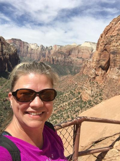 Carrie with Zion National Park in background