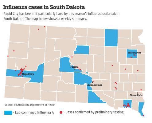 Map of confirmed flu cases