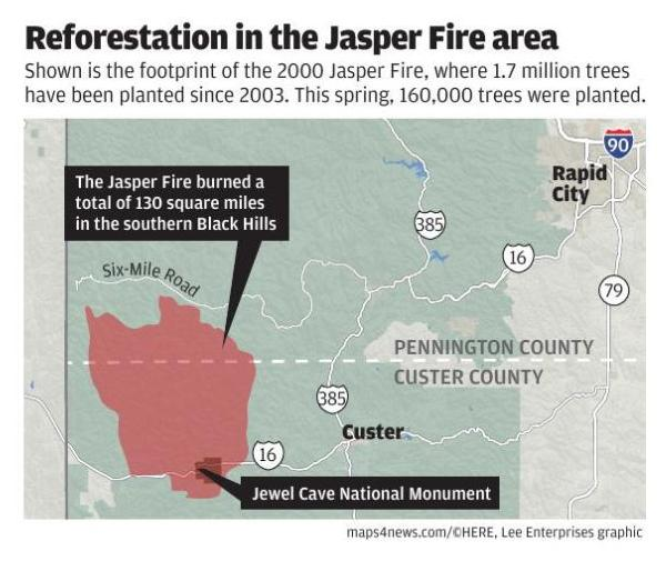 Map: Jasper Fire area