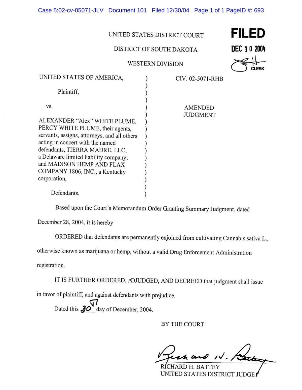 White Plume injunction