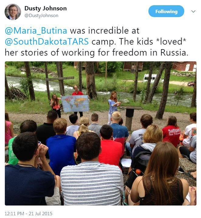 Johnson tweet about Butina