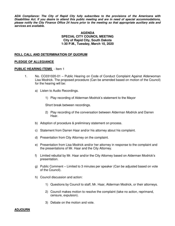 Agenda for the March 10, 2020 public hearing on Alderwoman Lisa Modrick
