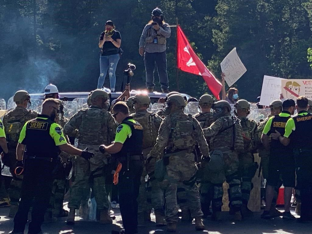 Protesters and law enforcement