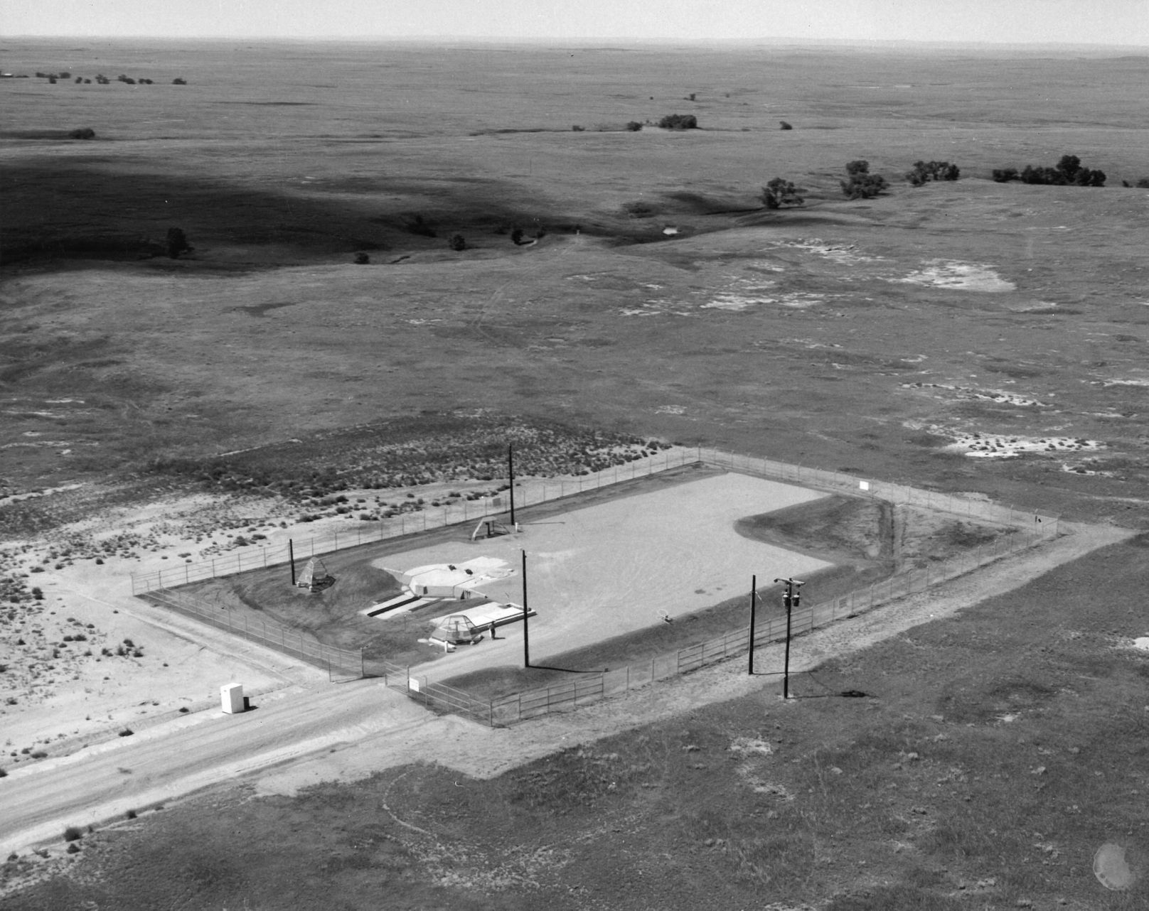 1963 aerial view of missile silo complex