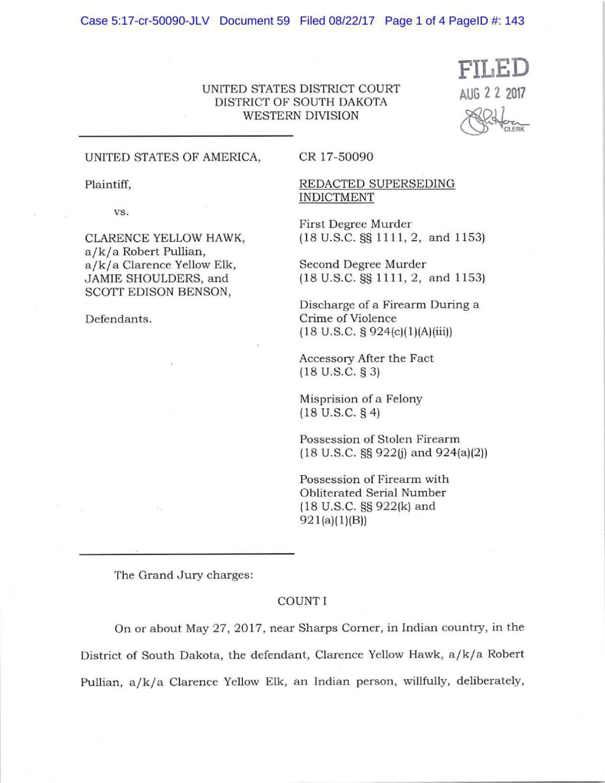 United States of America vs. Clarence Yellow Hawk, Jamie Shoulders and Scott Edison Benson