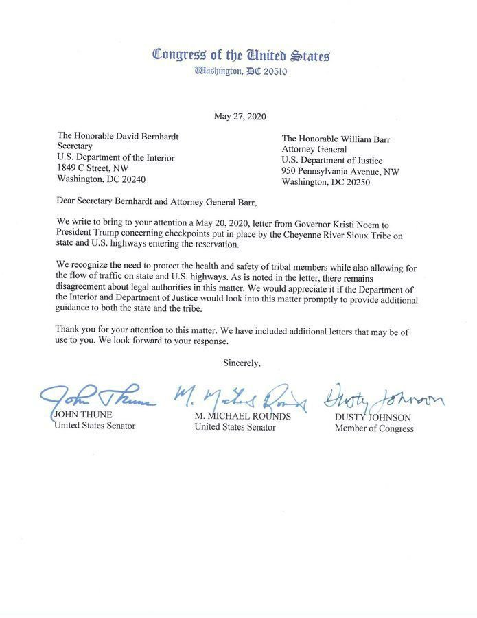 Checkpoints letter from SD congressional delegation