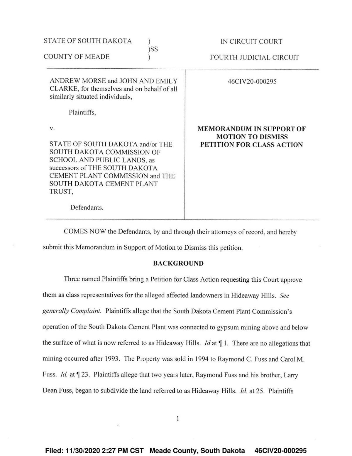 Motion to reject class-action lawsuit