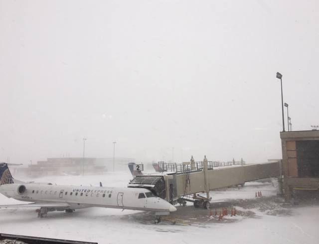 Snow, wind at Rapid City Regional Airport