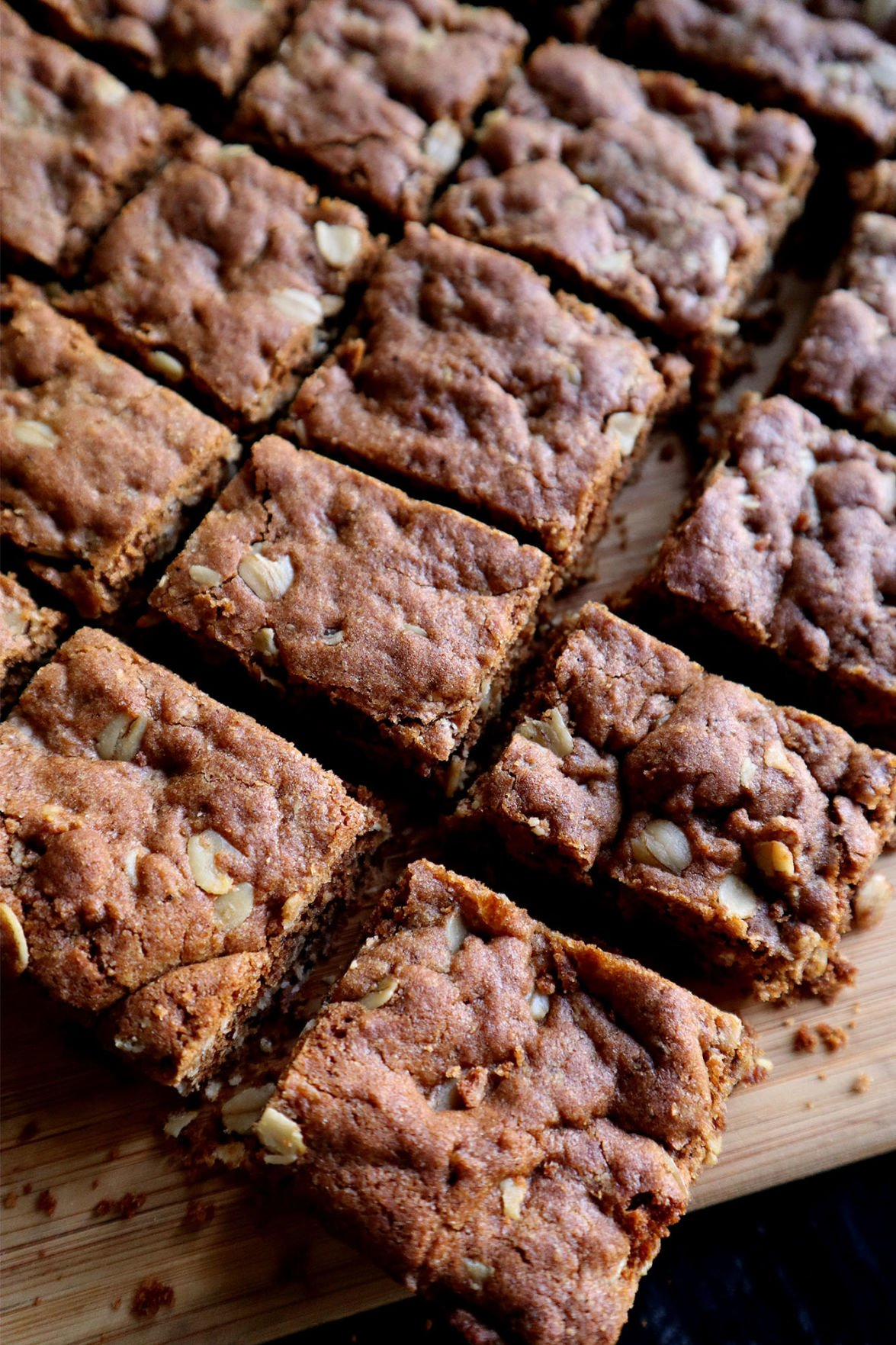 A snack that combines protein carbs and fat -- such as these ginger and molasses energy bars -- help you feel satiated when you're stress eating.