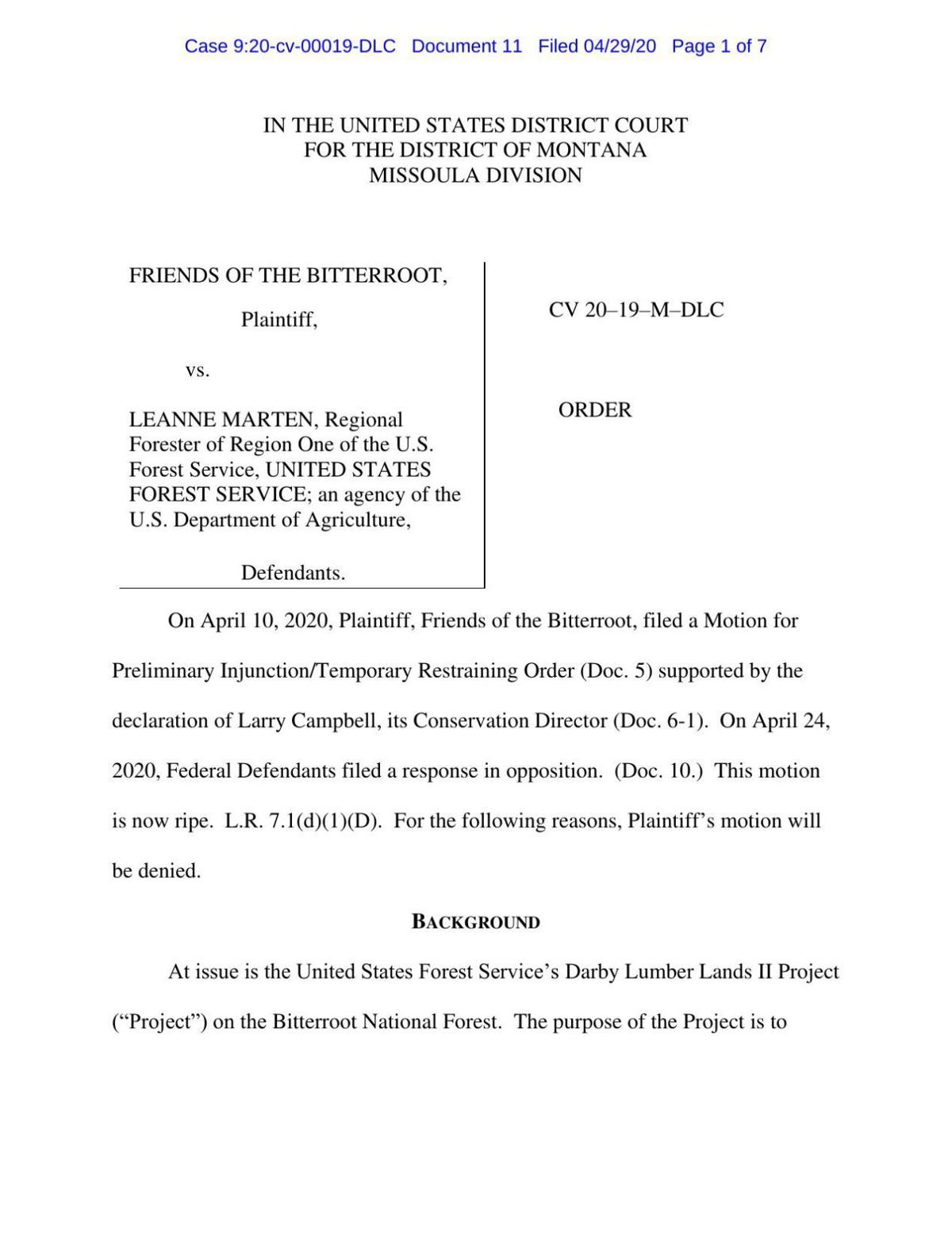 Ruling on Friends of Bitterroot's injunction request