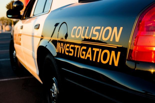 car accident collision investigation stockimage crash