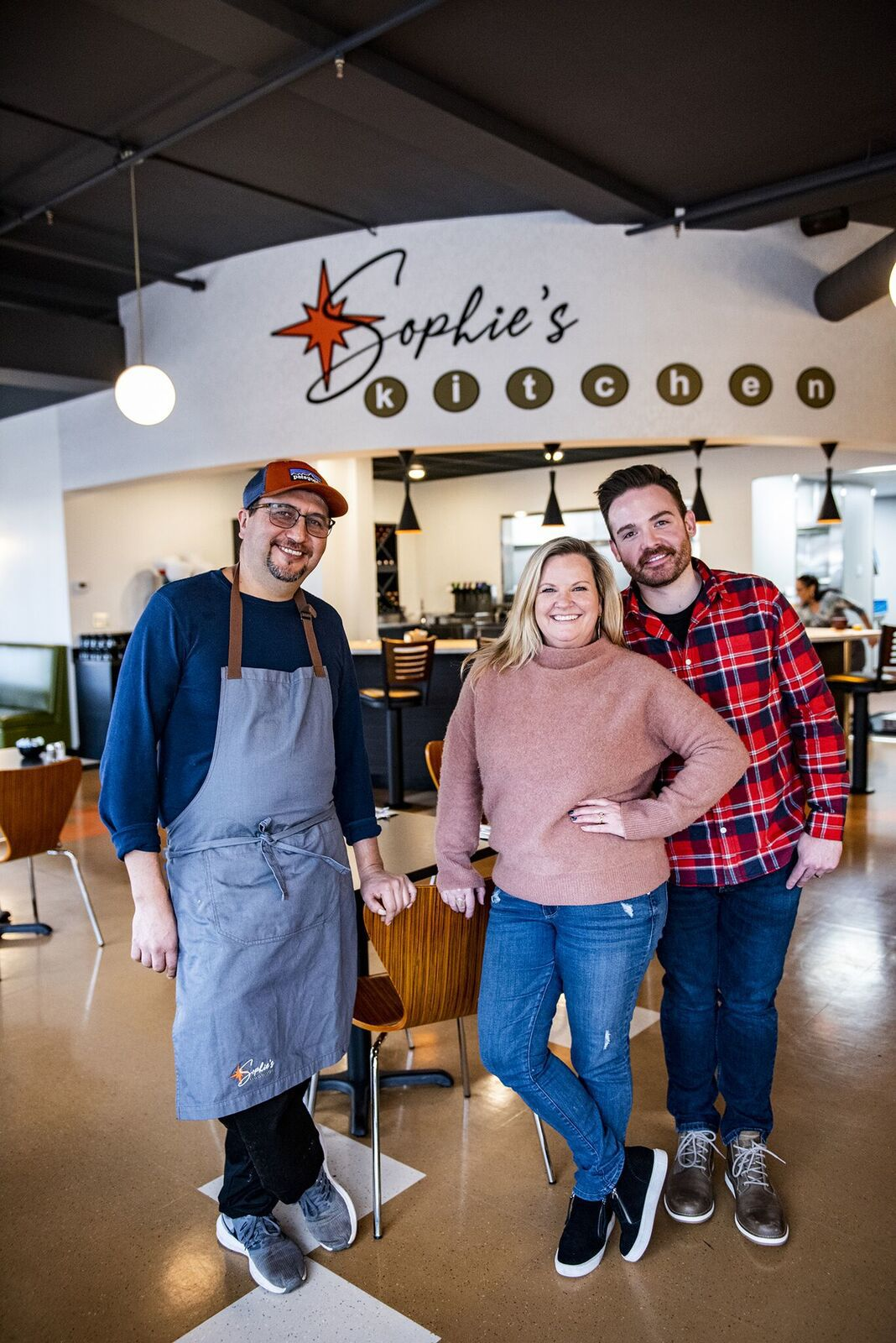 Chef Ramiro Gallegos with owners Stacey Hettinger and Dylan Brumwell