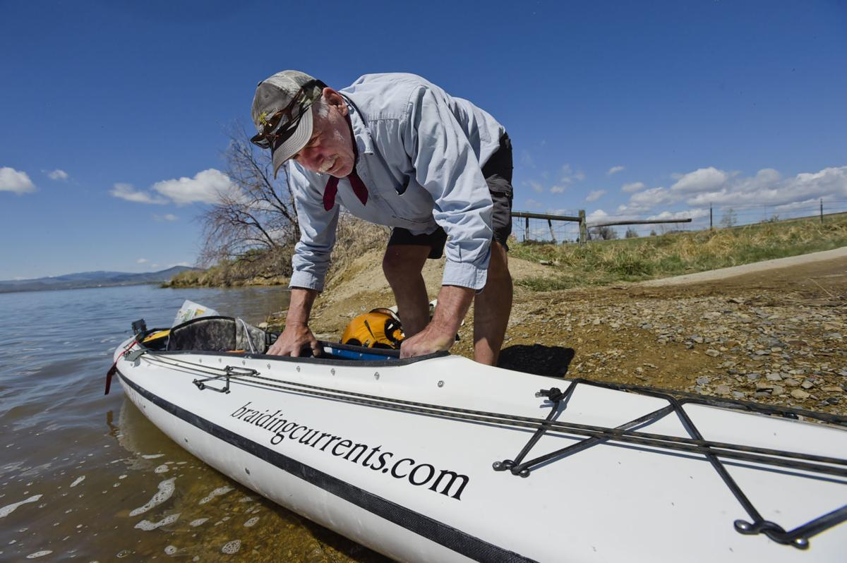 Emanuel rigs his hybrid canoe/kayak recently