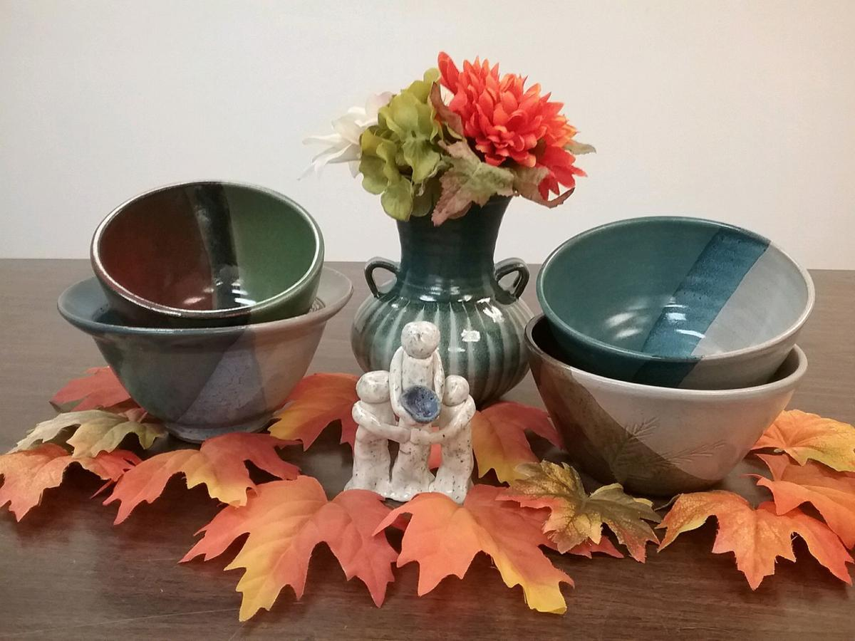 Empty Bowls bowls prizes and leaves
