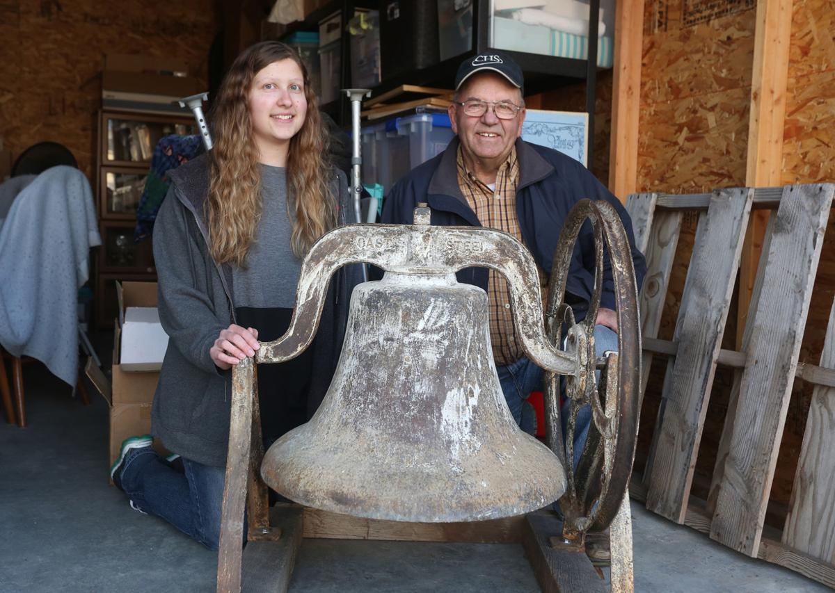 Catrina Heberle and Gary Leese, school bell