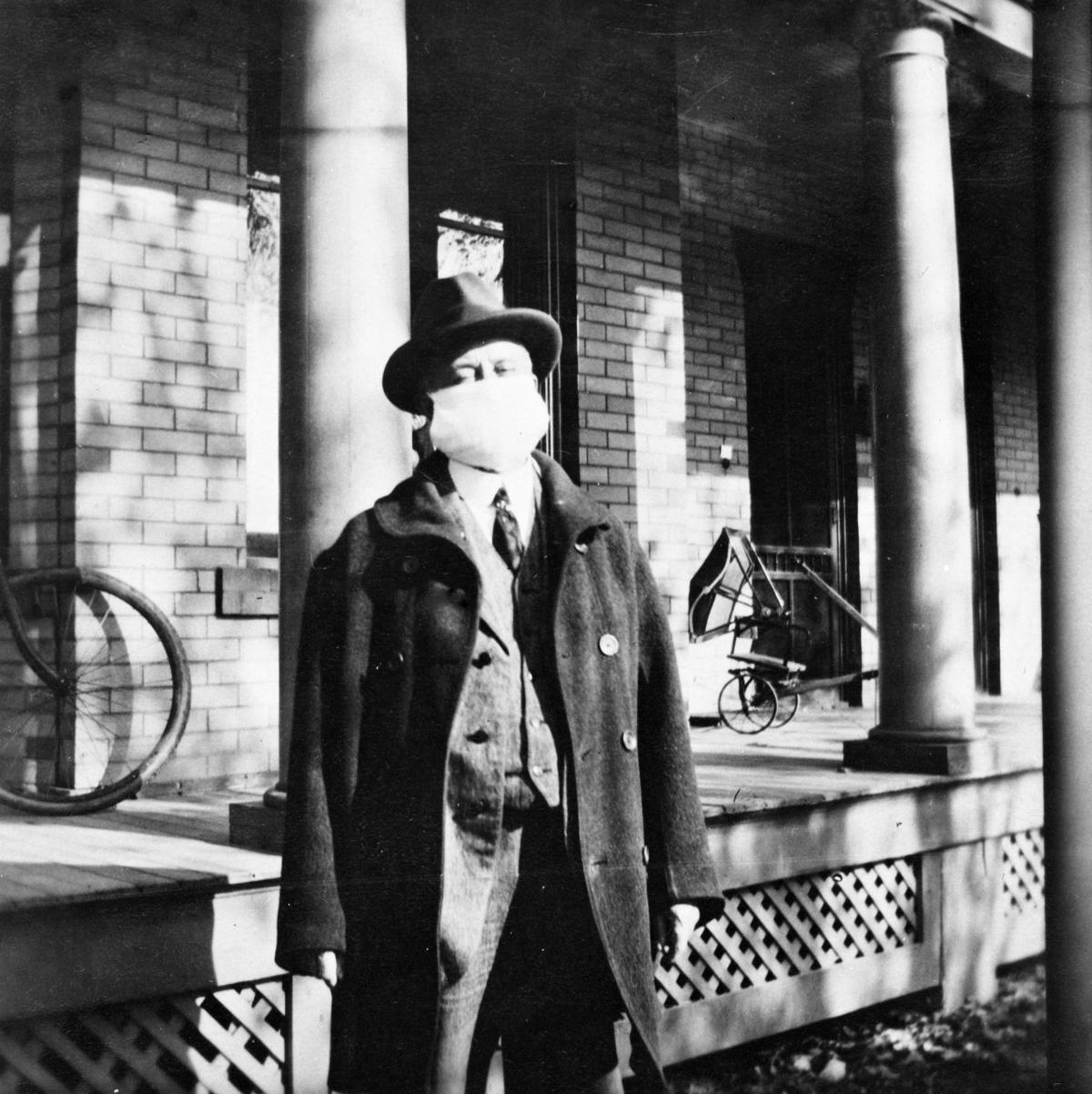 A.B. Kimball dressed to go to work during the 1918 flu epidemic.