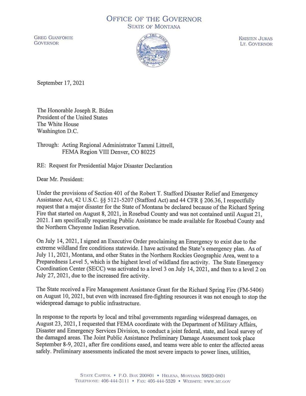 Richard Spring Major Disaster request