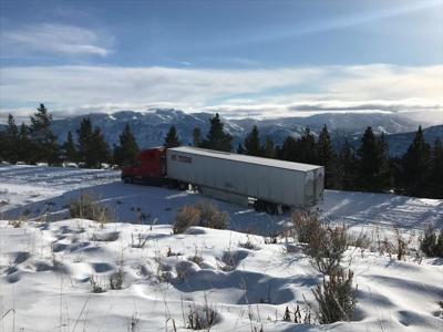 Semi stuck on Beartooth Highway
