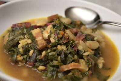 Italian Cannellini Bean, Barley and Swiss Chard Soup