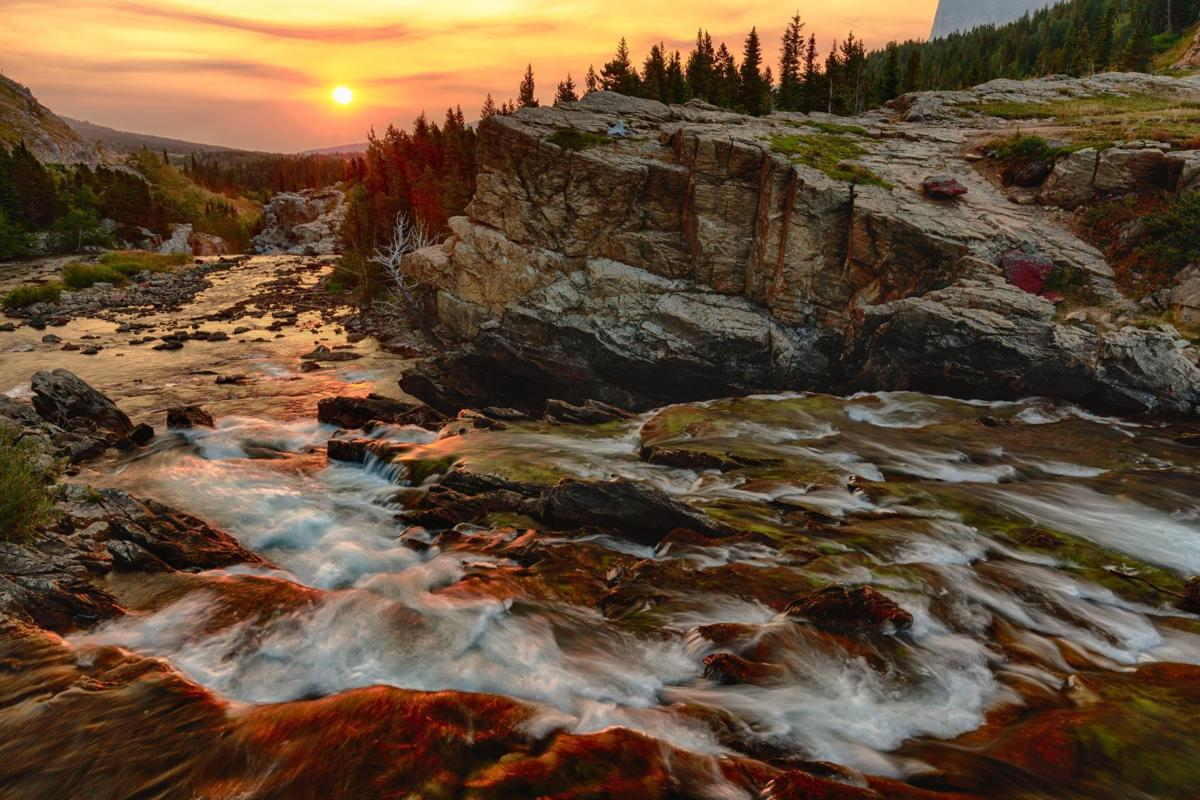 Swiftcurrent Falls on a Smoky Morning