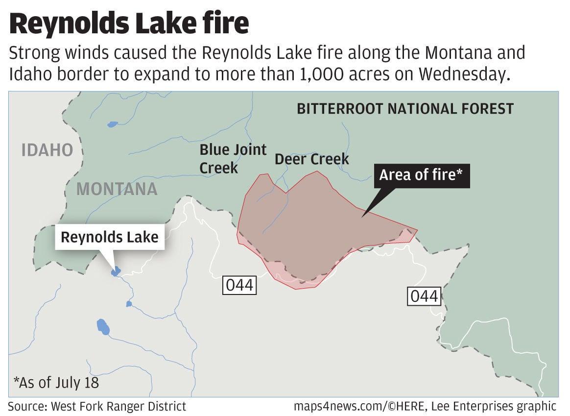 Reynolds Lake Fire On Montana Idaho Border Grows To Over 1 000 Acres