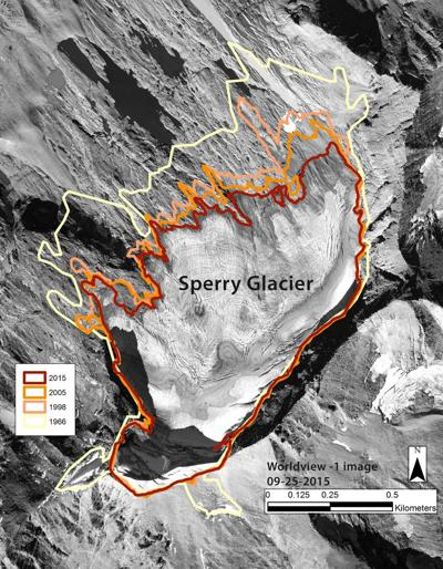 Sperry Glacier shrinkage map