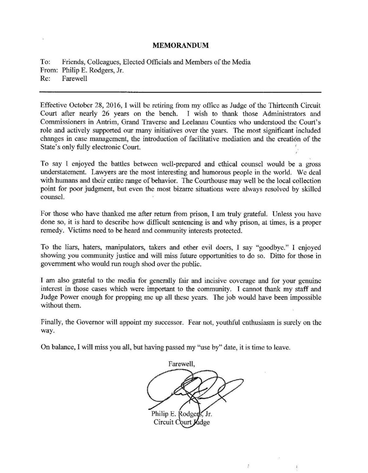 Judge Philip Rodgers Resignation Letter Record Eagle