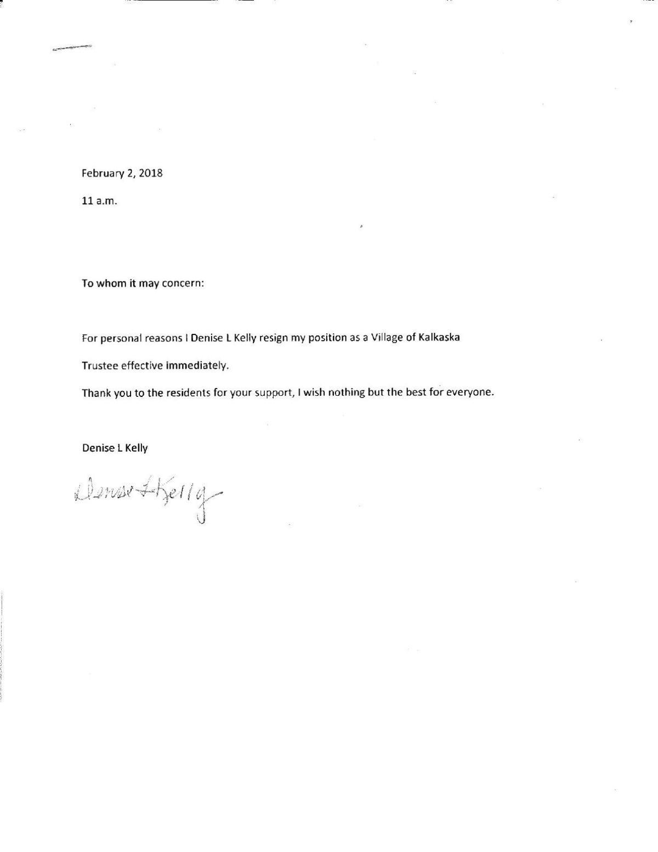 trustee kelly resignation letter
