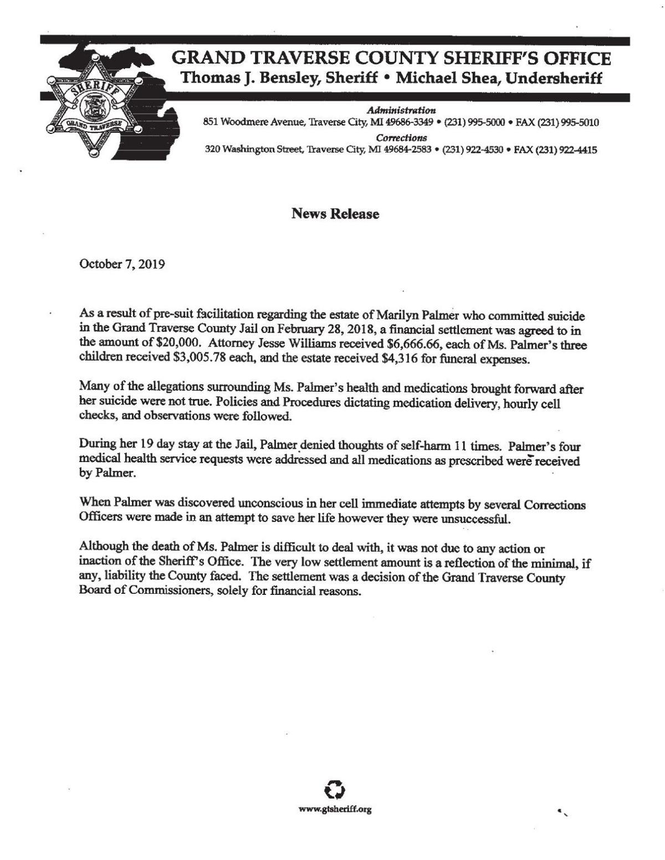 Palmer news release