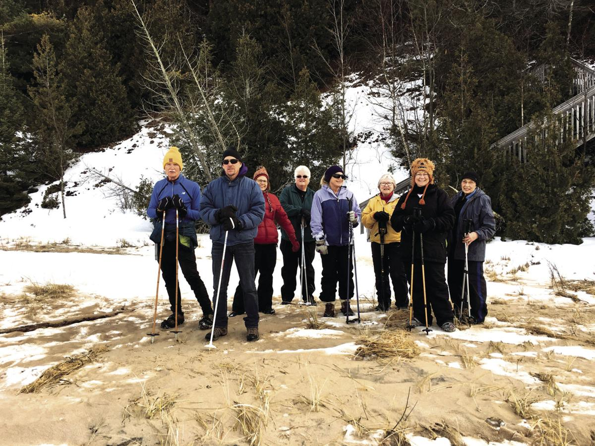Winter hikers at Green Point Dunes
