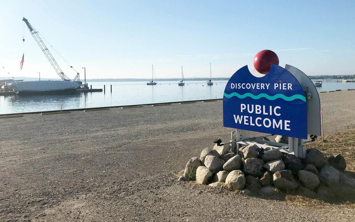 Discovery Pier sign July 2020
