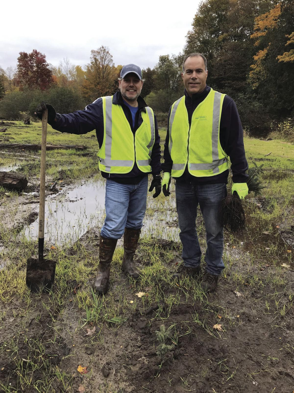 Volunteers plant trees along Betsie River photo