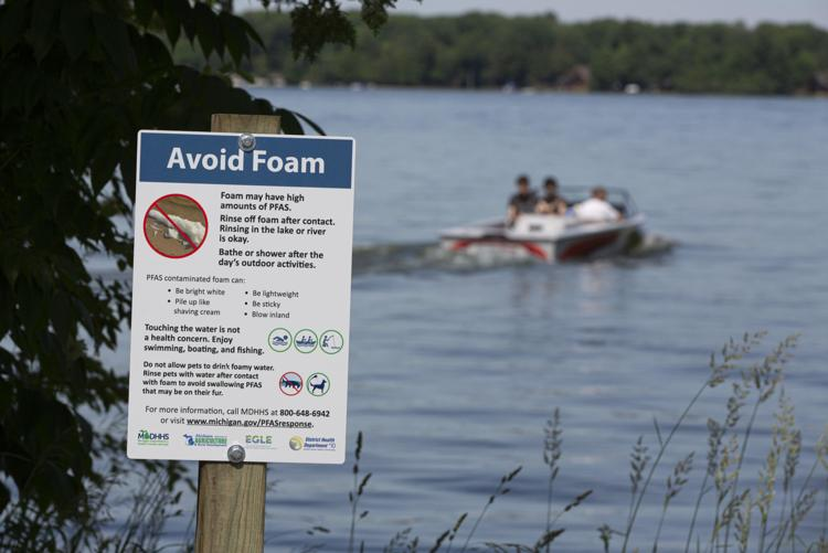 Michigan Department of Environment, Great Lakes and Energy (EGLE) posts warning sign at Lake Margrethe | source: Mike Krebs, Record-Eagle