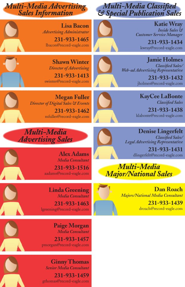 Advertising staff contact info