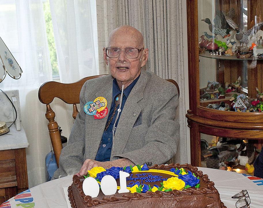 Carl Thompson 100th birthday photo