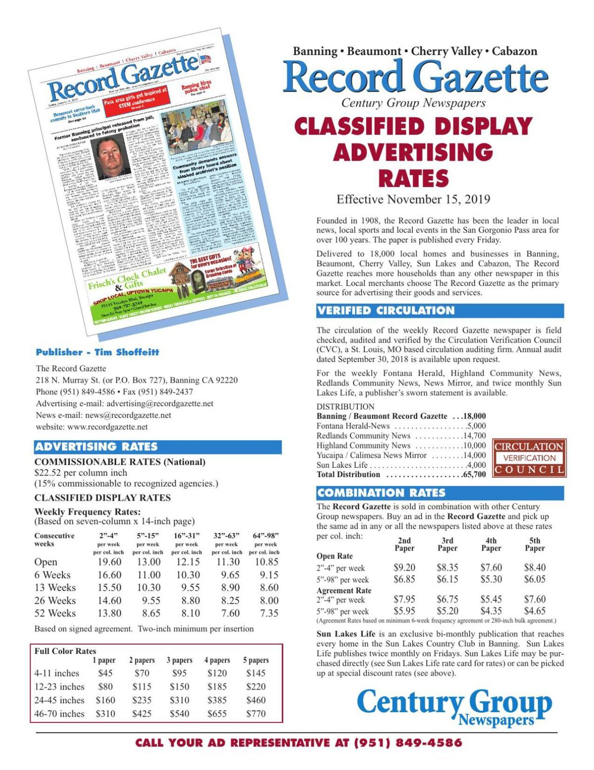 Classified Display Rate Card