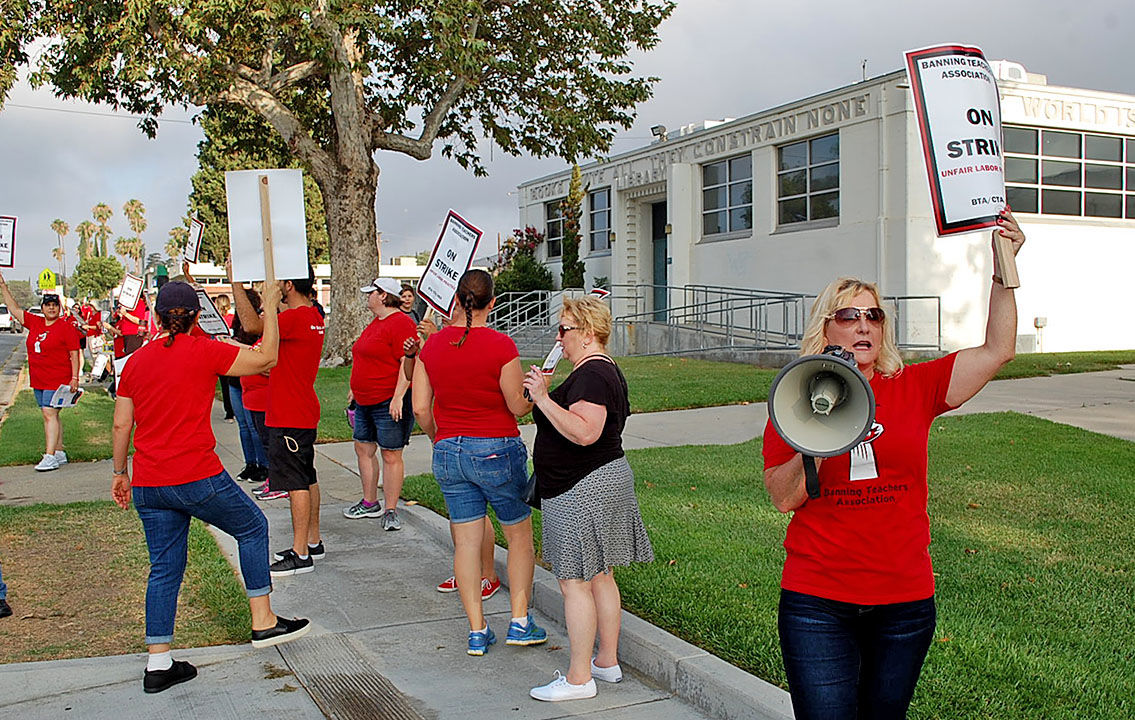 On day one back to school, Banning's teachers go on strike