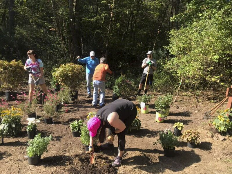 Local hiking friends plant memory garden