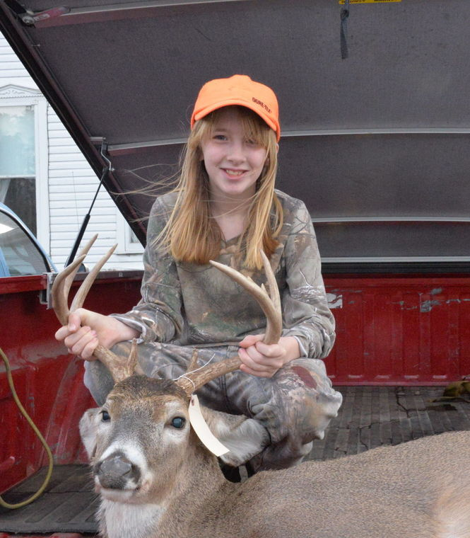 Amber Brewer and her buck