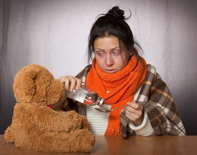 flu sick girl
