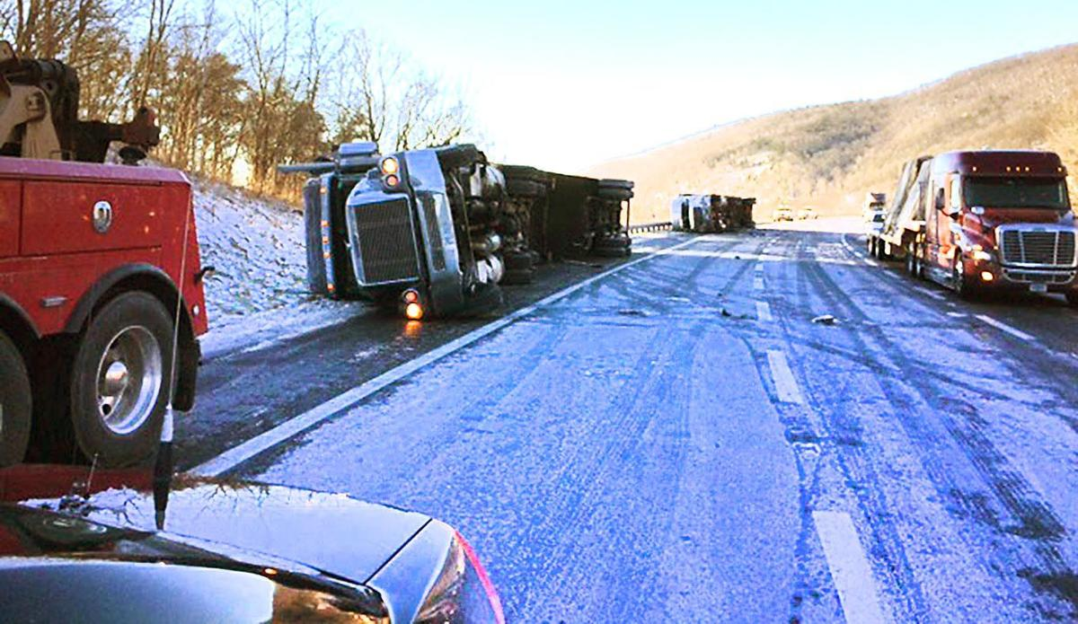 Several tractor-trailers blown over on I-77 northbound in Fancy ...