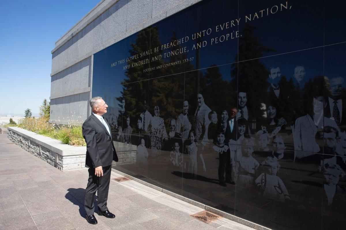 Ulisses Soares of the Quorum of the Twelve Apostles looks at a Latter-day Saint-themed mural on the roof of the Church Conference Center in Salt Lake City, Utah, on Tuesday, June 23, 2020. The apostle expressed his thoughts on Pioneer Day leading up to the Utah state holiday and shared how Brazilian Saints' legacy has impacted his own life.
