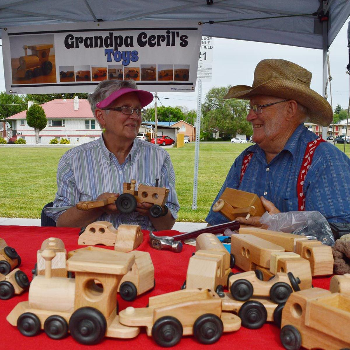 retired couple makes and sells toys at rexburg farmers