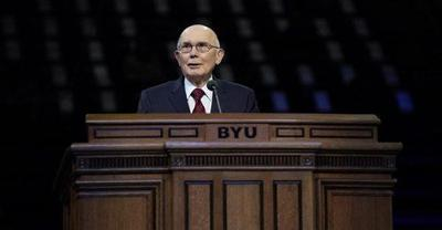 President Dallin H. Oaks of the First Presidency of The Church of Jesus Christ of Latter-day Saints speaks to students in the Marriott Center at Brigham Young University on October 27, 2020.