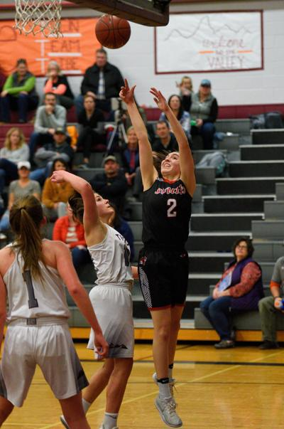 South Fremont's Tyleigh Hill puts up a shot against Teton.